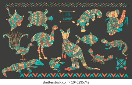 Australian stylized animals set. Ornamental colorful animal collection for your design.