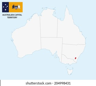 australien capital territory map with flag