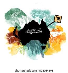 Australien  watercolor vector background