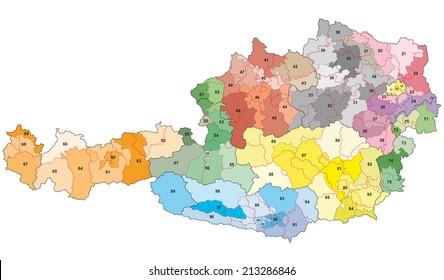 austria 2-digit postcodes map
