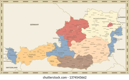 Austria Administrative Map Retro Color - Detailed map of Austria vector illustration - All elements are separated in editable layers clearly labeled.