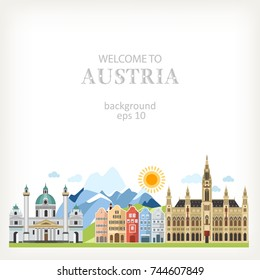 Austria background with traditional symbols and architecture info panoramic outdoor