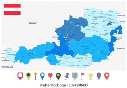 Austria Blue Map and Flat Map Icons - Detailed map of Austria vector illustration - All elements are separated in editable layers clearly labeled.