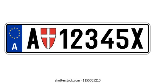 Austria car plate. Vehicle registration number