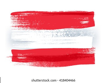 Austria colorful brush strokes painted national country Austrian flag icon. Painted texture.