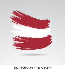 Austria colors on painted flag. Vector art.