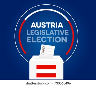Austria democracy political process selecting president or parliament member with election and referendum freedom to vote vector illustration