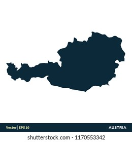 Austria - Europe Countries Map Vector Icon Template
