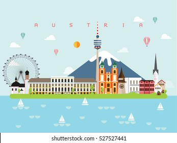 Austria Famous Landmarks Infographic Templates for Traveling Minimal Style and Icon, Symbol Set Vector Illustration Can be use for Poster Travel book, Postcard, Billboard.