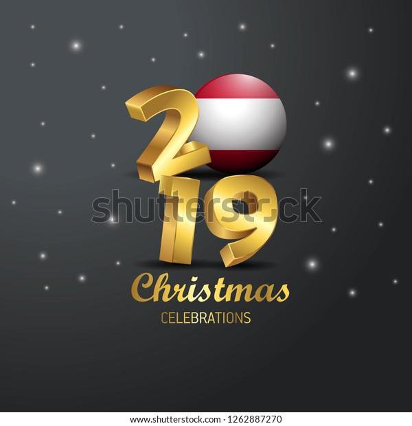 Christmas In Austria 2019.Austria Flag 2019 Merry Christmas Typography Stock Vector