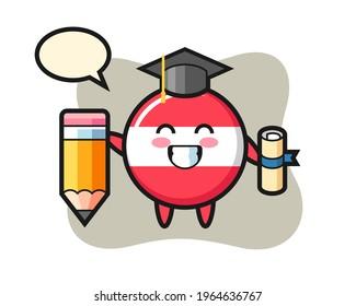 Austria flag badge illustration cartoon is graduation with a giant pencil, cute style design for t shirt, sticker, logo element