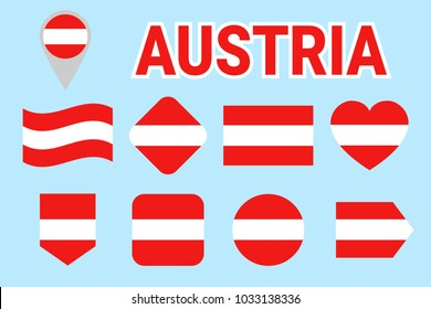 Austria flag collection. Vector Austrian flags set. Flat isolated icons. Traditional colors. Web, sports pages, national, travel, school,geographic, patriotic, cartographic design elements
