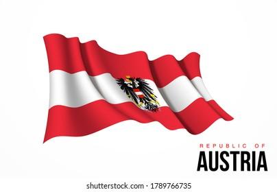 Österreichs Flaggenstaatsymbol einzeln auf nationalem Hintergrund. Grußkarte Nationaler Unabhängigkeitstag der Republik Österreich. Illustrationsbanner mit realistischer Staatsflagge.