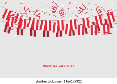 Austria garland flag with confetti on gray background, Hang bunting for Austria celebration template banner. vector