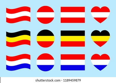 Austria, Germany, The Netherlands flags vector set. Flat isolated icons. Austrian, German, Golland flags collection. Web, sports page, travelling touristic design elements. Geometric shapes