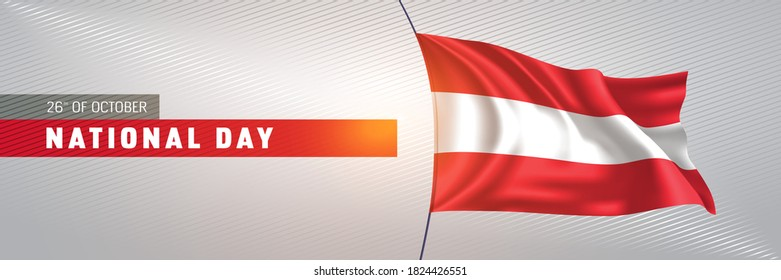 Austria happy national day greeting card, banner vector illustration. Austrian holiday 26th of October design element with 3D waving flag on flagpole