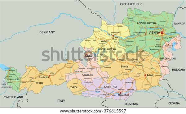 Vector De Stock Libre De Regalias Sobre Austria Mapa Politico