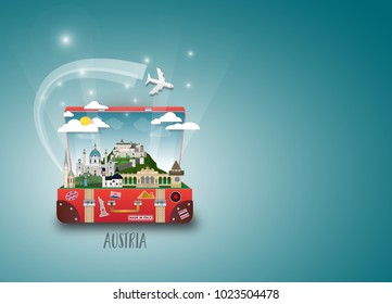 Austria Landmark Global Travel And Journey paper background. Vector Design Template.used for your advertisement, book, banner, template, travel business or presentation.
