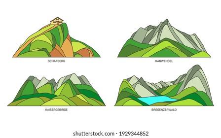 Austria landmarks, natural landscape mountains, travel sightseeing places, vector flat icons. Austrian Alps mounts Schafberg in Salzburg, Karwendel, Kaisergebirge in Tirol and Bregenzerwald forest