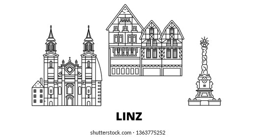 Austria, Linz line travel skyline set. Austria, Linz outline city vector illustration, symbol, travel sights, landmarks.