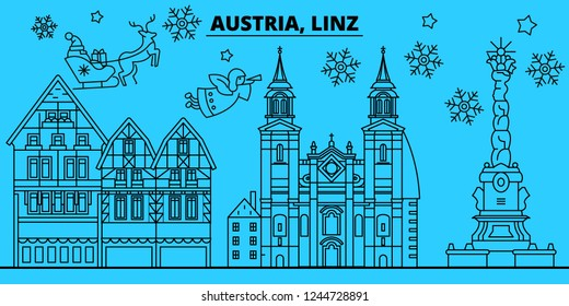 Austria, Linz winter holidays skyline. Merry Christmas, Happy New Year decorated banner with Santa Claus.Flat, outline vector.Austria, Linz linear christmas city illustration