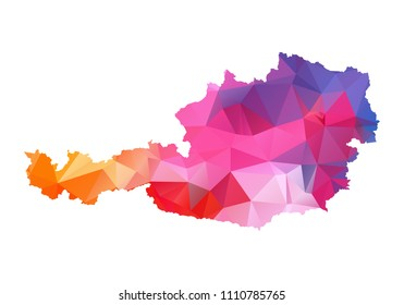 austria map blue vector illustration in polygonal style on white background. colorful abstract of austria map. Abstract tessellation,modern design background.