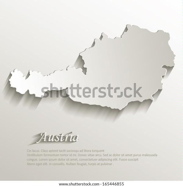 Austria map card paper 3D natural vector