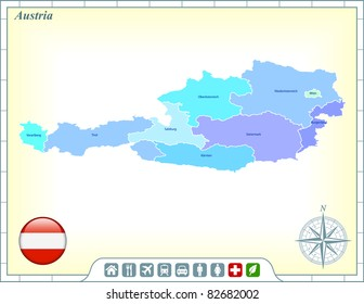 Austria Map with Flag Buttons and Assistance & Activates Icons Original Illustration