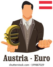 Austria national currency euro symbol representing money and Flag. Vector design concept of businessman in suit with his open hand over with currency isolated on white background in EPS10.