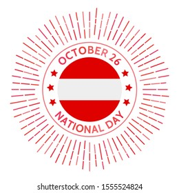 Austria national day badge. Restoration of sovereignty and signing of the Declaration of Neutrality in 1955. Celebrated on October 26.