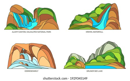 Austria natural landmarks and nature landscape sightseeing, vector flat icons. Austria travel places, Kalkalpen national park, Krimml waterfall in Salzburg and Eisriesenwelt limestone ice cave