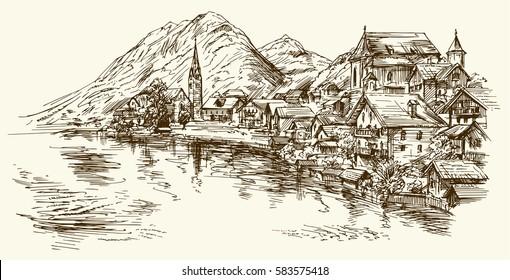 Austria, rural village. Hand drawn illustration.