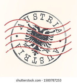 Austria Stamp Postal. Eagle Silhouette Seal. Passport Round Design. Vector Icon. Design Retro Travel.
