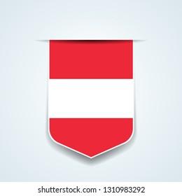 Austria tag shielt label illustration