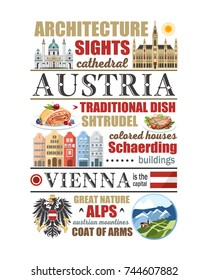 Austria text info banner vienna symbols article poster food architecture nature mountains state symbols newspaper