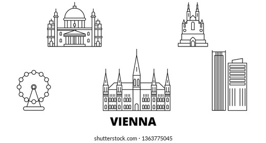 Austria, Vienna City line travel skyline set. Austria, Vienna City outline city vector illustration, symbol, travel sights, landmarks.