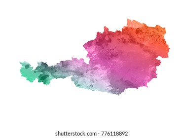 austria watercolor map in colorful colors. Vector abstract watercolor background of business flyer map of austria. isolate white background.