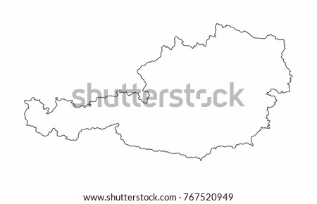 Austria World Map Country Outline Graphic Stock Vector Royalty Free