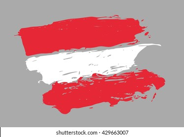 Austrian flag. Republic of Austria. Hand drawn vector image.
