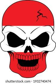Austrian Flag Skull Austria Vector