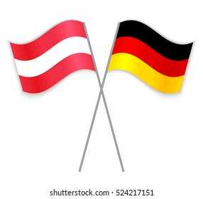 41084fdfd62 Austrian and German crossed flags. Austria combined with Germany isolated  on white. Language learning