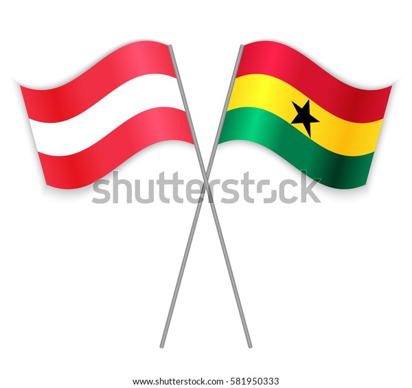 Austrian and Ghanaian crossed flags. Austria combined with Ghana isolated on white. Language learning, international business or travel concept.