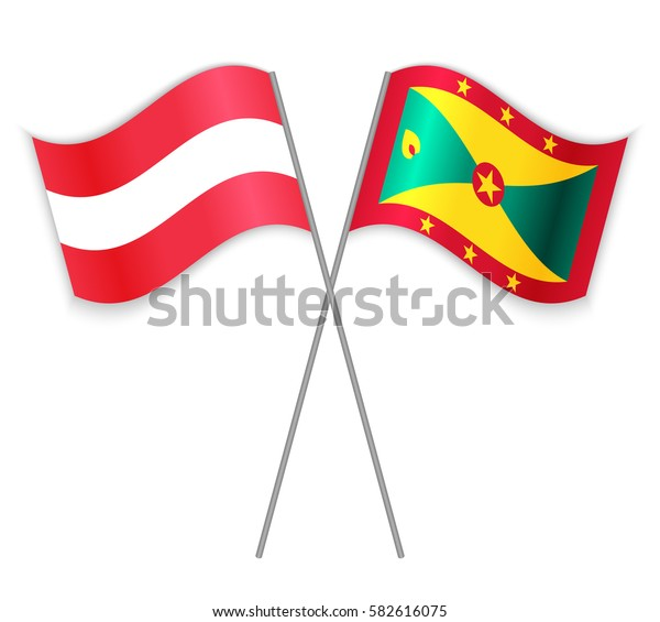 Austrian and Grenadian crossed flags. Austria combined with Grenada isolated on white. Language learning, international business or travel concept.