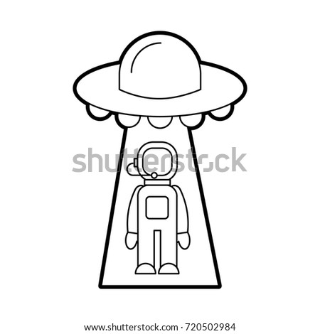 Austronaut Abducted By Ufo Science Fiction Stock Vector Royalty