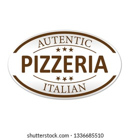 autentic pizzeria italia paper web lable badge isolated