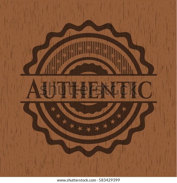 Authentic badge with wooden background