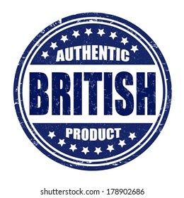 Authentic british product grunge rubber stamp on white, vector illustration