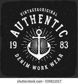 Authentic Denim print for t-shirt or apparel. Retro artwork in black and white for fashion and printing. Old school vector with nautical theme and typography. Vintage effects are easily removable.
