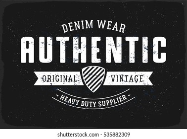 Authentic Denim print for t-shirt or apparel. Retro artwork in black and white for fashion and printing. Old school vector with traditional theme and typography. Vintage effects are easily removable.