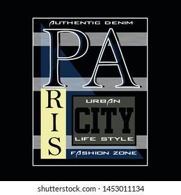 authentic denim,paris city,alphabet,lettering,tee element vintage graphic t shirt print vector typography illustration design